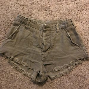 Free People Olive Green Jean Shorts